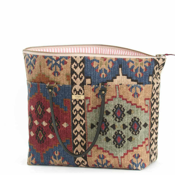 Kilim Weekend Bag / Leather Trim by Umpie