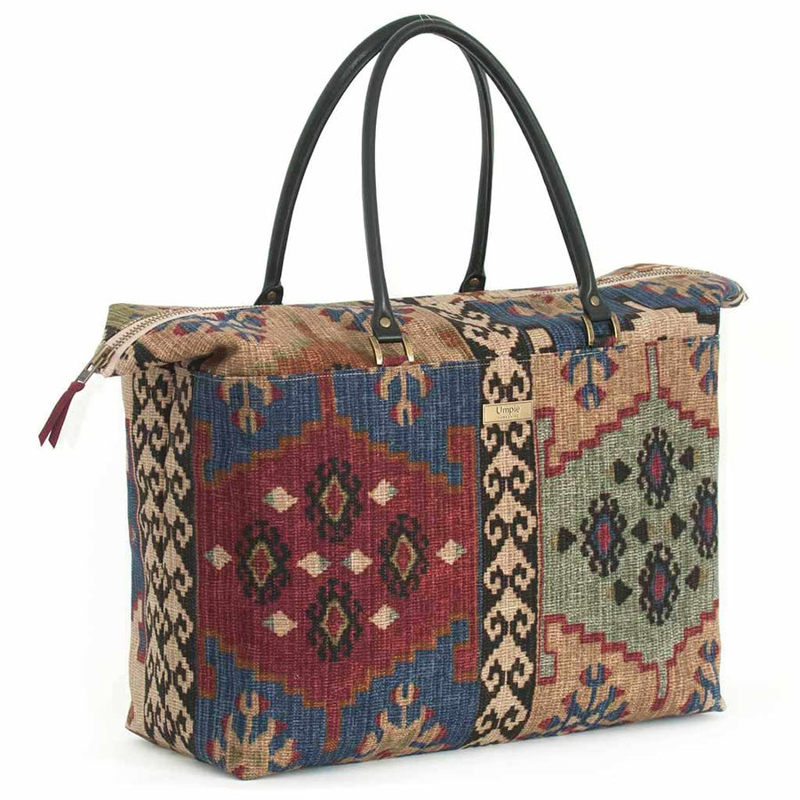Kilim Weekend Bag with black leather handles