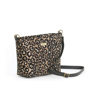 Front view of Leopard Crossbody Bag in fabric with black leather strap