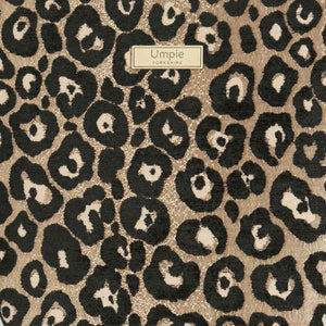 Fabric view of Leopard Weekend Bag Black/Bronze with black leather handles