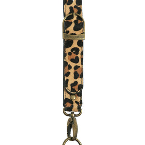 Leopard print, hair-on-hide leather strap
