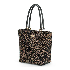 Leopard Print Shoulder Bag with black leather handles