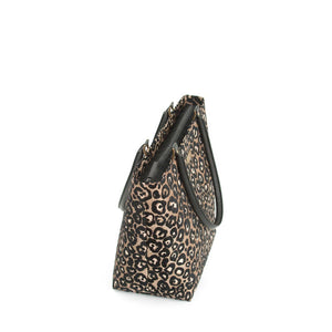 Zip-top view of Leopard Print Shoulder Bag with black leather handles