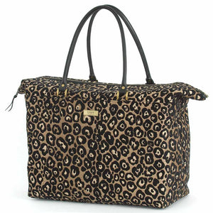 Leopard Weekend Bag Black/Bronze with black leather handles