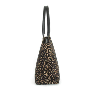 Side view of Leopard Print Shoulder Bag with black leather handles
