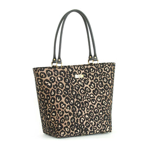 Front view of Leopard Print Shoulder Bag with black leather handles