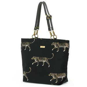 Black Leopard Fabric Tote Bag with leather handles, by Umpie Bags