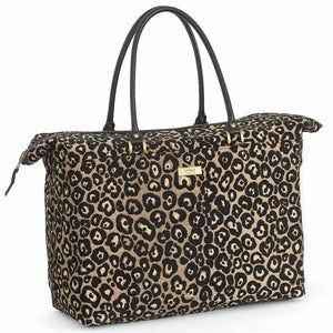 Front view of Leopard Weekend Bag Black/Bronze with black leather handles