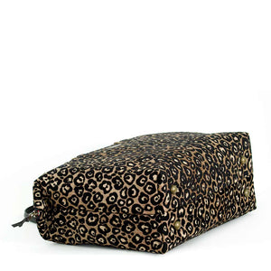 Base view of Leopard Weekend Bag Black/Bronze with black leather handles