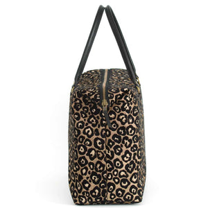 Side view of Leopard Weekend Bag Black/Bronze with black leather handles