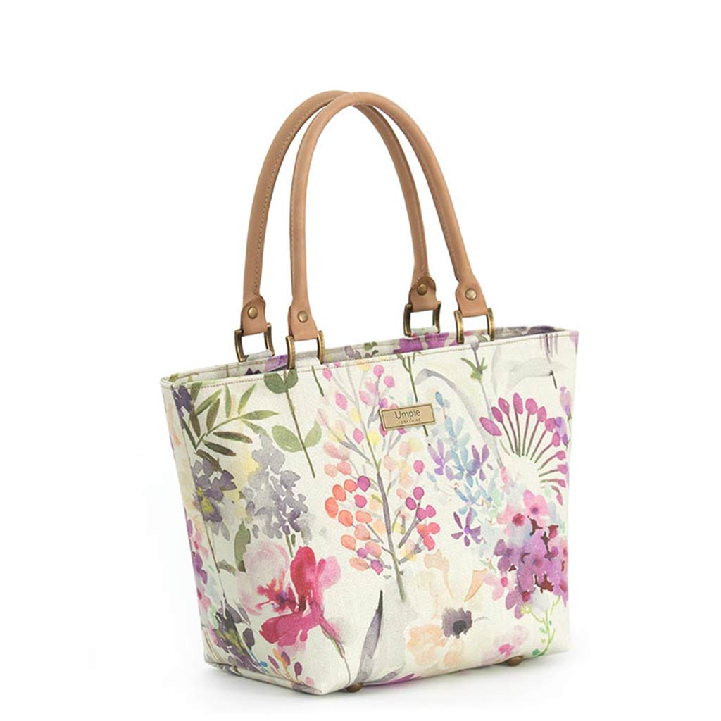 Lilac Floral Handbag with tan leather handles by Umpie Bags
