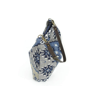Top view of Navy Kilim Hobo Bag with brown leather strap