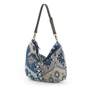 Navy Kilim Hobo Bag with brown leather strap