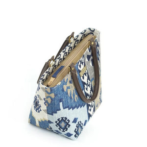 Zip-top view of Navy Kilim Handbag with brown leather handles by Umpie Bags