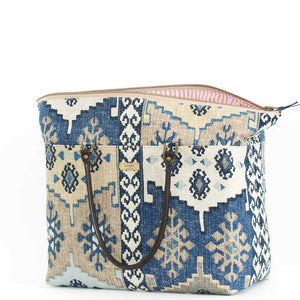 Navy Kilim Weekend Bag with leather handles, by Umpie Bags