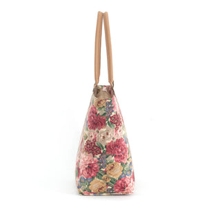 Side view of Pink Floral Shoulder Bag with tan leather handles, by Umpie Bags
