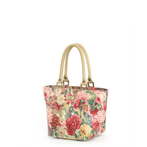 Pink Floral Handbag, Rose & Peony Print with tan leather handles by Umpie Bags
