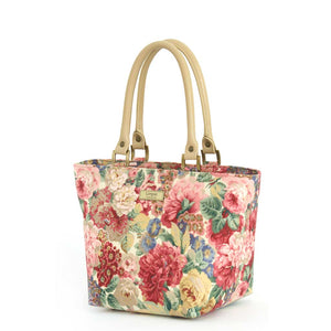 Pink Floral Handbag with tan leather handles, by Umpie Bags