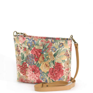 Pink Floral Crossbody Bag with tan leather strap, by Umpie Bags