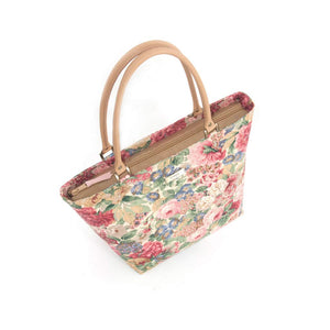 Zip-top view of Pink Floral Shoulder Bag with tan leather handles, by Umpie Bags