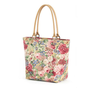 Pink Floral Shoulder Bag with tan leather handles, by Umpie Bags