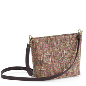 Back view of Pink Tweed Crossbody Bag with black leather strap, by Umpie Bags