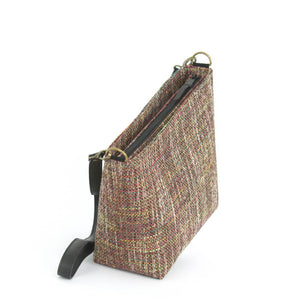 Zip-Top view of Pink Tweed Crossbody Bag