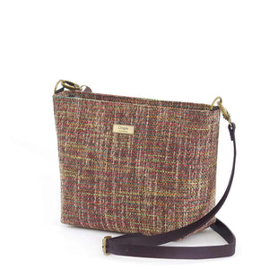 Pink Tweed Crossbody Bag with black leather strap, by Umpie Bags