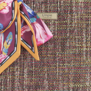 Fabric view of Pink Tweed Handbag with Twilly Scarf