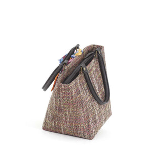 Zip-top view of Pink Tweed Handbag with black leather handles and Twilly Scarf, by Umpie Bags
