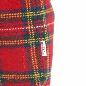 Fabric view of Red Tartan Harris Tweed Hobo Bag with Leopard Strap