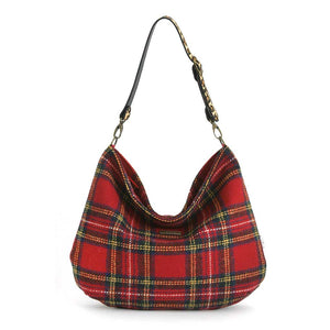 Front view of Red Tartan Harris Tweed Hobo Bag with Leopard Strap