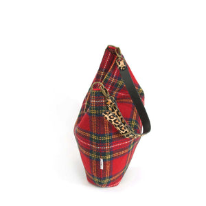 Top-zip view of Red Tartan Harris Tweed Hobo Bag with Leopard Strap