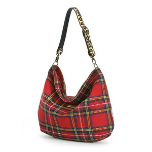 Red Tartan Harris Tweed Hobo Bag with Leopard Strap