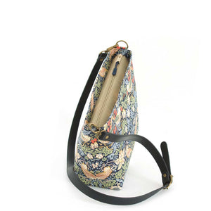 Zip-top view of William Morris Strawberry Thief Crossbody Bag in Navy with black leather strap, by Umpie Bags