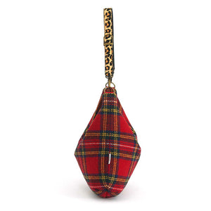 Side view of Red Tartan Harris Tweed Hobo Bag with Leopard Strap