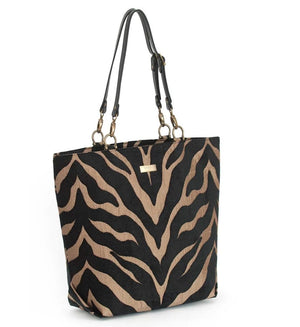Front view of Tiger Print Tote Bag with black leather handles