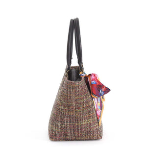 Side view of Pink Tweed Handbag with black leather handles and Twilly Scarf, by Umpie Bags