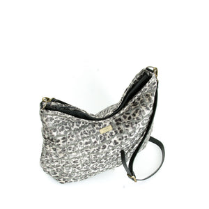 Top view of Leopard Print Crossbody Bag grey velvet with black leather strap