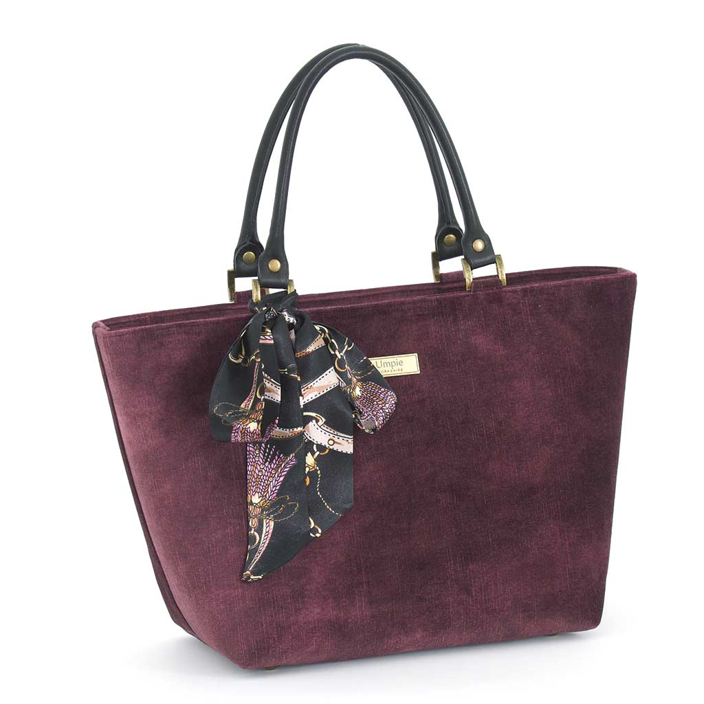 Aubergine Velvet Grab Bag with black leather handles & Twilly Scarf