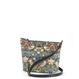 William Morris Strawberry Thief Crossbody Bag in Navy with black leather strap, by Umpie Bags