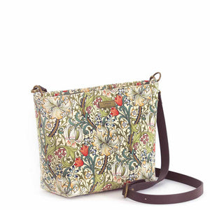 Front view of William Morris Golden Lily Crossbody Bag