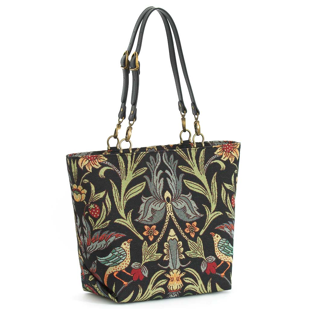 William Morris Tote Bag with black leather buckled straps