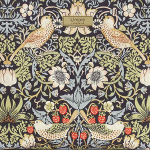 Fabric view of William Morris Strawberry Thief Crossbody Bag Navy