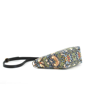 Base view of William Morris Strawberry Thief Crossbody Bag in Navy with black leather strap, by Umpie Bags
