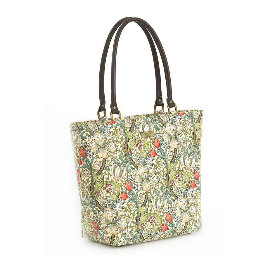 William Morris Print Shoulder Bag with tan leather handles