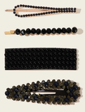 4- Piece Black Rhinestone Hair Clips