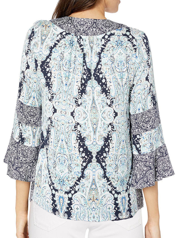 Blue Print Bell Sleeve Top - Final Sale