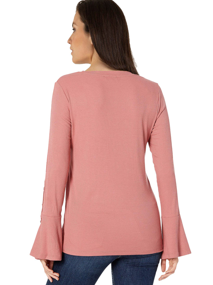 Ribbed Bell Sleeve Top - Final Sale