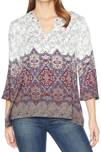 Eyelet Trim Paisley Print Top - Final Sale
